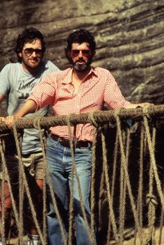 Director Steven Spielberg & Producer George Lucas on the Set of Indiana Jones and the Temple of Doom (1984)
