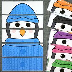 Penguin color puzzles for preschool and kindergarten. Helps develop color recognition and fine motor skills. Preschool Learning, Kindergarten Activities, Activities For Kids, K Crafts, Preschool Crafts, Penguin Craft, January Preschool Themes, Penguin Coloring, Carnival