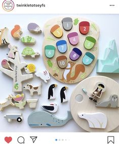 Educational solid wooden toys styled in contemporary colours and beautiful illustrations....made from sustainable rubber wood