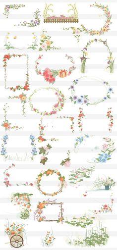 花のフレーム枠素材02