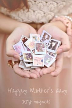DIY Mothers Day Gift Ideas - Mini Polaroid Photo Magnets - Homemade Gifts for Moms - Crafts and Do It Yourself Home Decor, Accessories and Fashion To Make For Mom - Mothers Love Handmade Presents on Mother's Day - DIY Projects and Crafts by DIY JOY http://diyjoy.com/diy-mothers-day-gifts