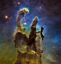 Space image (Hubble telescope), Eagle Nebulas Pillars of Creation. Available as greeting card, poster, framed fine art print or canvas print for sale. Credit for the original photo: NASA, ESA/Hubble and the Hubble Heritage Team