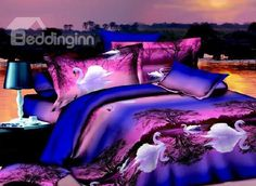 New Arrival 100% Cotton White Swan on Swan Lake Print Purple 4 Piece Bedding Sets/Duvet Cover Sets