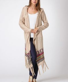 Another great find on #zulily! Khaki Fringe Duster #zulilyfinds