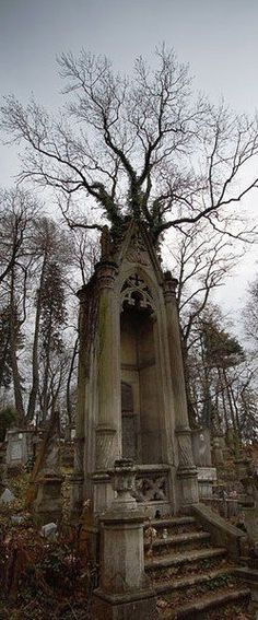Looking up at the lonely, abandoned crypt, I got the feeling that whoever was interred inside had a terrible history. Cemetery Statues, Cemetery Headstones, Old Cemeteries, Cemetery Art, Graveyards, Angel Statues, Abandoned Buildings, Abandoned Places, Haunted Places