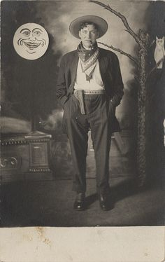 """""""Cowboy"""" with a Paper Moon - Real Photo Postcard by Photo_History"""
