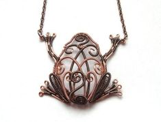Frog Necklace Wire Wrapped Copper