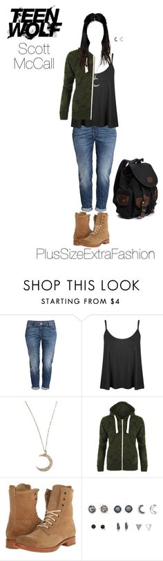 """Scott Inspired Plus Size Casual Outfit- Teen Wolf"" by plussizeextrafashion ❤ liked on Polyvore featuring H&M, Flea Market Girl, WearAll, Frye, With Love From CA, MTV, TeenWolf, plussize, ScottMcCall and plussizeextrafashion"