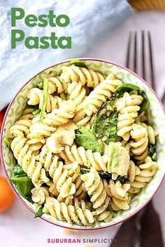 Enjoy this easy Basil Pesto Pasta recipe with Spinach and Avocado in less than 20 minutes! It's a flavorful and healthy dish to make again and again! A great vegetarian option. Basil Pesto Pasta, Pesto Pasta Recipes, Spinach Pasta, Avocado Recipes, Chicken And Beef Recipe, Pesto Chicken, Chicken Recipes, Healthy Weeknight Meals, Vegetable Pasta