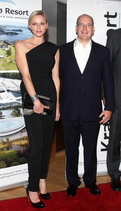 Prince Albert and Princess Charlene of Monaco during the evening for 50 years of Norwegian volleyball player Jan Kvalheim in Kragero in Norway on 17 Aug 2013