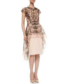 Lela Rose Embroidered Lace Peplum Dress, Blush/Black