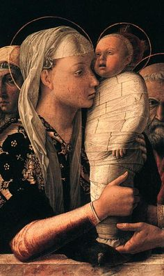 Painting by Andrea Mantegna, ca 1455, Presentation at the Temple, Tempera on canvas. (detail) #Italian_Renaissance
