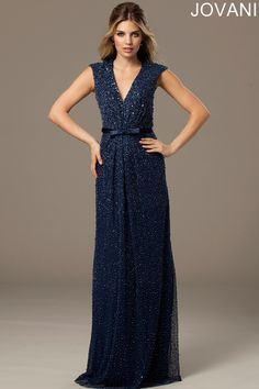 Beaded Navy Evening Dress 77517 - Evening Dresses