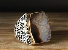 925 K Sterling Silver Man Ring Brown Agate 12 US Size B20-65031 #istanbul #Cluster