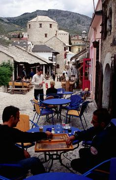 Backgammon players, Old Town Cafe, Onescukova Str. Castle Ruins, Medieval Castle, Old Town Cafe, Austro Hungarian, Bosnia, Table Games, Lonely Planet, Marcel, Waterfall