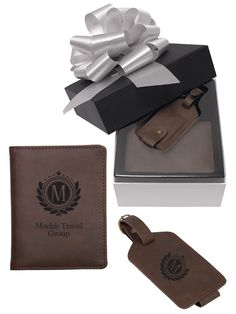 PK2001 Executive Travel Gift Set | Includes one passport holder and one luggage tag in premium brown Bonded Leather.