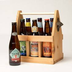 Love this wooden beer carrier with bottle opener! Clown Shoes, All Craft, Beer Lovers, General Store, Craft Beer, New England, Wine Rack, Bottle Opener, Brewing