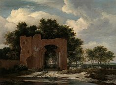 Jacob Isaacsz van Ruisdael - A ruined Castle gateway, possibly the Archway of Huis Ter Kleef, near Haarlem Dutch Golden Age, Dutch Painters, Dutch Artists, Paintings For Sale, Art Paintings, Old Master, Landscape Art, Amsterdam, Modern Art
