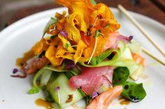 Yellow Fin tuna & salmon sashimi salad with pickled ginger & ponzu dressing