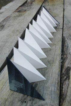 Denim covered diagonal folded Leporello closure by Marinabooks