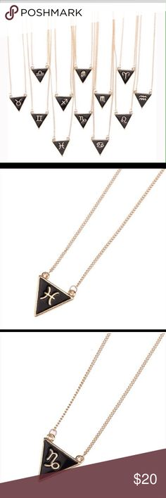 """JUST IN! ☀️✨ ZODIAC NECKLACES Black and gold zodiac geometric triangle pendants on a 16"""" chain. I have Aries & Sagittarius only left! Don't wait.  15 with shipping included!I Twilight Gypsy Collective Jewelry Necklaces"""