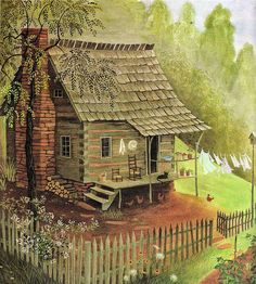 """Mountain Home"" from The Year Of The Perfect Christmas Tree, 1988 / illustrator Barbara Cooney Old Cabins, Cabins In The Woods, House In The Woods, Little Cabin, Little Houses, Arte Country, Country Life, Barbara Cooney, Thomas Kinkade"
