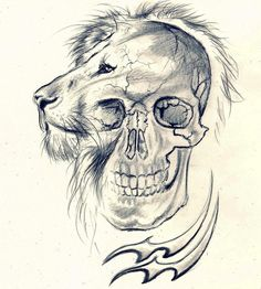 lion skull tattoo | Lion-skull-aquarius by Cleicha