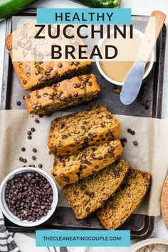 This Healthy Zucchini Bread Recipe is perfect for a simple snack or nutritious breakfast. Gluten free & low sugar, this easy clean eating recipe creates a moist bread, made even better with mini chocolate chips! #healthy #zucchini #bread #zucchinibread Easy Clean Eating Recipes, Healthy Gluten Free Recipes, Healthy Breakfast Recipes, Snack Recipes, Breakfast Ideas, Healthy Eating, Clean Eating Breakfast, Nutritious Breakfast, Healthy Muffins