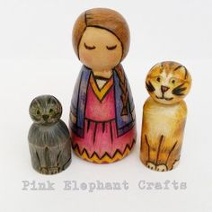 Beautiful custom made Little girl and her Cat Peg Doll gift set - perfect for any cat-loving little girl. Hand made with love in Wales, Uk. www.pinkelephantcrafts.wales