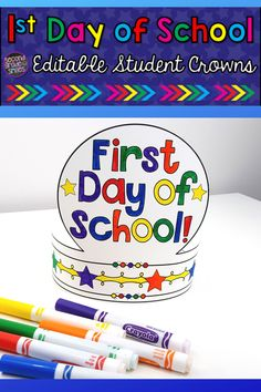 Back to school crown options that will make for a fun first day craft to begin the school year. Editable - just click to edit text and personalize. Students will love to these wear home from the first day of school! First Day Of School Activities, Kindergarten First Day, 1st Day Of School, Teaching Phonics, Kindergarten Activities, Teaching Second Grade, Third Grade, 2nd Grade Classroom, September