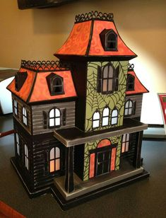I want to decoupage a doll house with Halloween paper. Theme Halloween, Halloween Village, Halloween Displays, Halloween Doll, Halloween Haunted Houses, Halloween Projects, Halloween House, Halloween Cards, Holidays Halloween