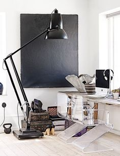 oversized lamp in a home office. love the lucite chairs too. Home Office, Office Workspace, Office Decor, Scandinavian Interior Design, Texture Design, Office Interiors, Interior Inspiration, Interior And Exterior, Interior Decorating