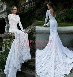 2014 Berta Elegant Lace Wedding Dress Sexy Mermaid White Backless Bridal Dresses With Long Sleeve Chapel Train BO3920 $179.00