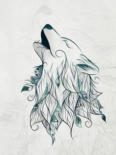 Wolf Art Print by LouJah – Art Sketches Wolf Tattoos, Cute Tattoos, Body Art Tattoos, Tatoos, Animal Drawings, Art Drawings, Wolf Drawings, Art Du Croquis, Wolf Canvas