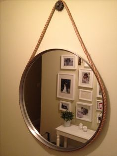 Mirror hung with rope and gear. Rope Mirror, House Ideas, Furniture, Home Decor, Washroom, Decoration Home, Room Decor, Home Furnishings, Home Interior Design