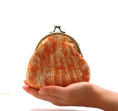 Coin purse  coin pouch  felted wool coin purse orange by AgnesFelt,