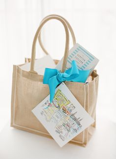 Wedding guests received welcome bags filled with snacks, cupcakes, an emergency kit, a 'Do Not Disturb' sign, and a custom map of Palm Beach. #weddingfavors Photography: KT Merry Photography. Read More: http://www.insideweddings.com/weddings/soft-hued-spring-wedding-at-the-breakers-in-palm-beach-florida/581/