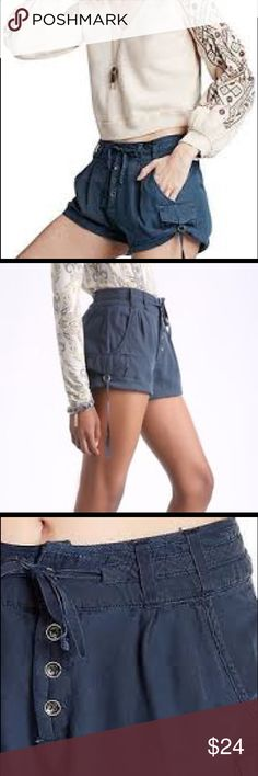 Free people cotton shorts, size 10, navy color Free people cotton shorts, size 10 navy color Free People Shorts Cargos