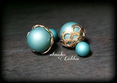 Türkise Perlen Doppel-Perlen Ohrstecker von byschmuckesLaedchen