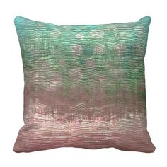 Pink Rose Gold Aquatic Tropical Abstract Painting Throw Pillow