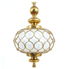 Elegant French Caged Brass Opal Glass Pendant Lamp | From a unique collection of antique and modern chandeliers and pendants  at https://www.1stdibs.com/furniture/lighting/chandeliers-pendant-lights/