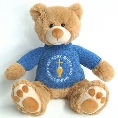 How great is this teddy bear as a Christening gift idea?  You can embroider the childs name and Christening date on the bear.  Such a great gift idea for the godmother.    Order here