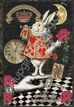 White Rabbit Art Collage Wallet Case