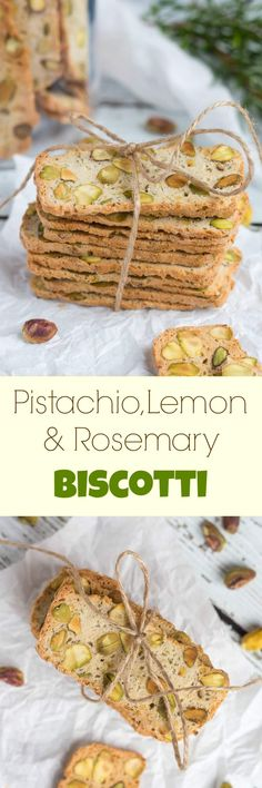 Pistachio, Lemon & Rosemary Biscotti: A Great Last Minute Gift Pistachio, Lemon & Rosemary Biscotti. Keep a loaf of this biscotti dough in the freezer & never be caught without a gift again. Biscotti Rezept, Biscotti Cookies, Pistachio Biscotti, Almond Cookies, Chocolate Cookies, Shortbread Cookies, Baking Recipes, Cookie Recipes, Dessert Recipes