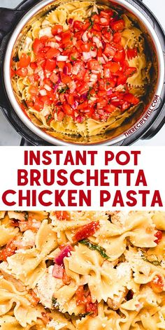 Instant Pot Bruschetta Chicken Pasta is an easy one-pot meal. Pasta, chicken, marinated tomatoes and parmesan cheese combine for a quick and tasty dinner! FOLLOW The Recipe Well for more great recipes! Instant Pot Pasta Recipe, Instant Pot Dinner Recipes, Best Instant Pot Recipe, Easy Cooking, Cooking Recipes, Healthy Recipes, Cooking Gadgets, Meal Recipes, Recipes Dinner