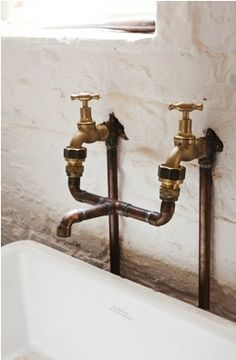 brass copper taps in bathroom - Google Search
