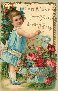 """Love Greetings To My Dear Mother"" ~ Vintage girl with roses postcard Birthday Postcards, Vintage Birthday Cards, Vintage Valentine Cards, Vintage Greeting Cards, Vintage Ephemera, Vintage Paper, Victorian Valentines, Images Vintage, Photo Vintage"