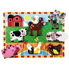 Melissa  Farm Chunky Puzzle ($9.99) -- We went to Melissa & Doug for lots of toys for Jo's first Christmas. These farm puzzles are great for 1yr+, especially if they have sound.