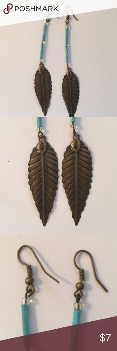 "Bohemian Turquoise and bronze color leaf earrings 4 1/2"" total length. Bronze metal with turquoise color any tiny clear beads. Bohemian.🍂🍂Bundle and save! Jewelry Earrings"