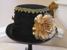 Black Top Hat Stevie Nicks Inspired  24KT Gold by MoonbeamEmporium